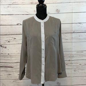 Soft Surroundings Silk Top Size Medium Grey